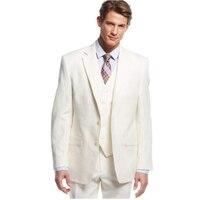 Льняные мужские костюмы цвета слоновой кости, пляжные свадебные смокинги для жениха, одежда зауженного покроя, 3 предмета (куртка + брюки + жи