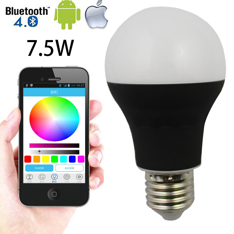 AC85-265V 7.5W E27 RGB Bluetooth Led Light Bulbs 4.0 Smartphone App Remote Control Color Change Dimmable