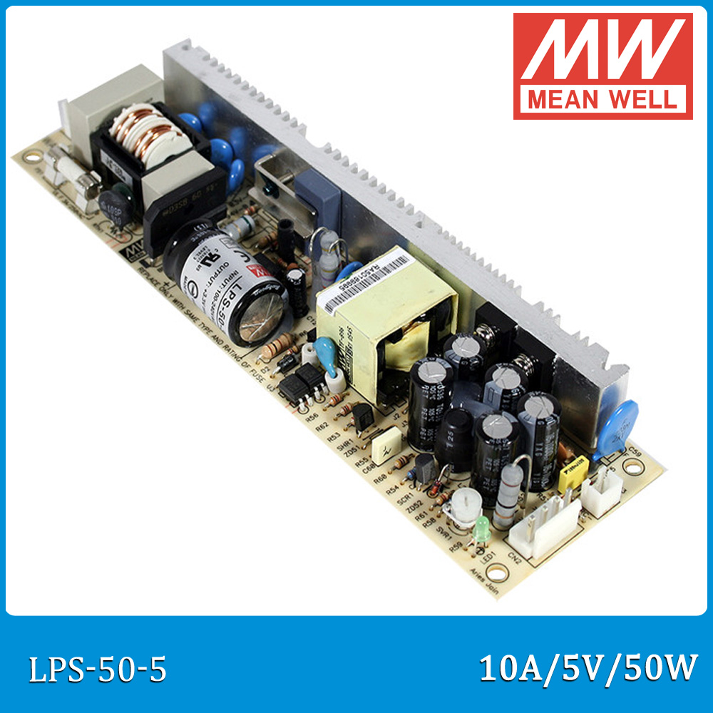 Original MEAN WELL LPS-50-5 single output 5V 10A 50W open frame Meanwell Power Supply LPS-50 PCB type