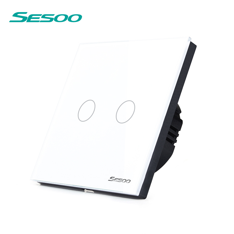 SESOO Touch Switch 2 Gang 1 Way,White,Crystal Glass Switch Panel,Single FireWire Touch Sensing Wall Switch smart home us au wall touch switch white crystal glass panel 1 gang 1 way power light wall touch switch used for led waterproof