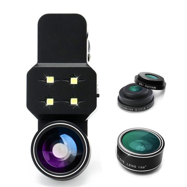Selfie jerx 4 en 1 teléfono con cámara kit de lentes led de luz 3 en 1 ángulo de ojo de pez gran angular lente macro para iphone 6 6 s 7 plus samsung