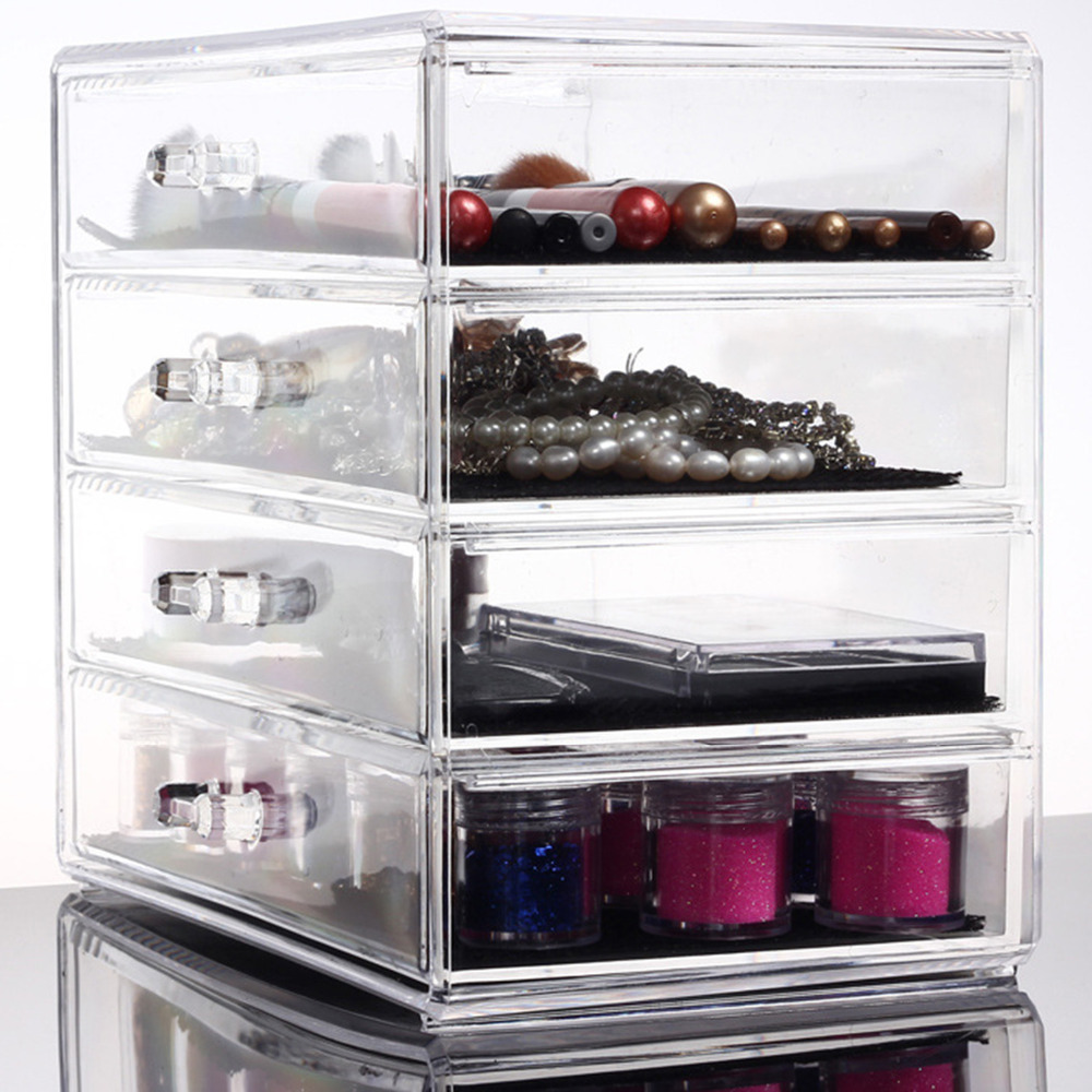 NC 4 Layers Clear Cosmetic Drawers Jewelry Ring Makeup Storage