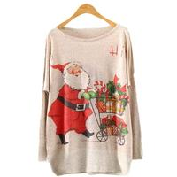 2016 Womens Christmas Sweater Batwing Long Sleeve Color Loose Knit Sweater Knitwear Tops Women Sweaters And
