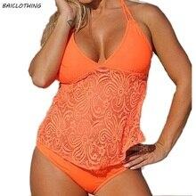 BAICLOTHING Plus Size Swimwear Women Push Up Bikinis 2017 Lace Bikini Set low Waist Swimsuit Bathing Suits Swim Wear 5XL