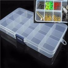 Hook Fishing Plastic Lure Storage Box Case Tackle New Organizer 15 Adjustable Transparent Slots