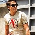 AK AK CLUB Marca Camiseta de Los Hombres Casuales Insignia de la Impresión Camiseta 100% brezo hilo de algodón suave camiseta hombres t-shirt men clothing 1400029