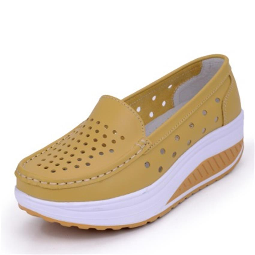 Running Shoes Gogoruns Breathable Women Genuine Leather Shoes Ladies Platform Running Shoes Luxury Brand Girls Swing Platform Shoes Women 23m8 Durable Service
