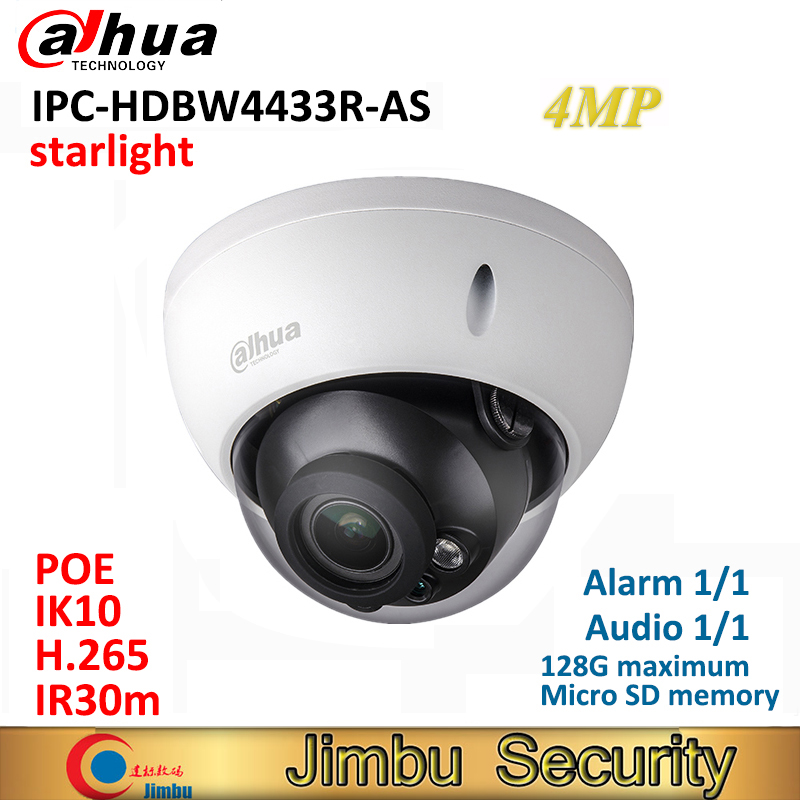 Dahua 4MP IP starlight Camera IPC-HDBW4433R-AS H.265 Support IK10 IP67 Audio and Alarm PoE IP Camera Replace IPC-HDBW4431R-AS dahua 4mp cctv ip camera ipc hdbw4433r as support ik10 ip67 audio and alarm poe camera with ir range 30m