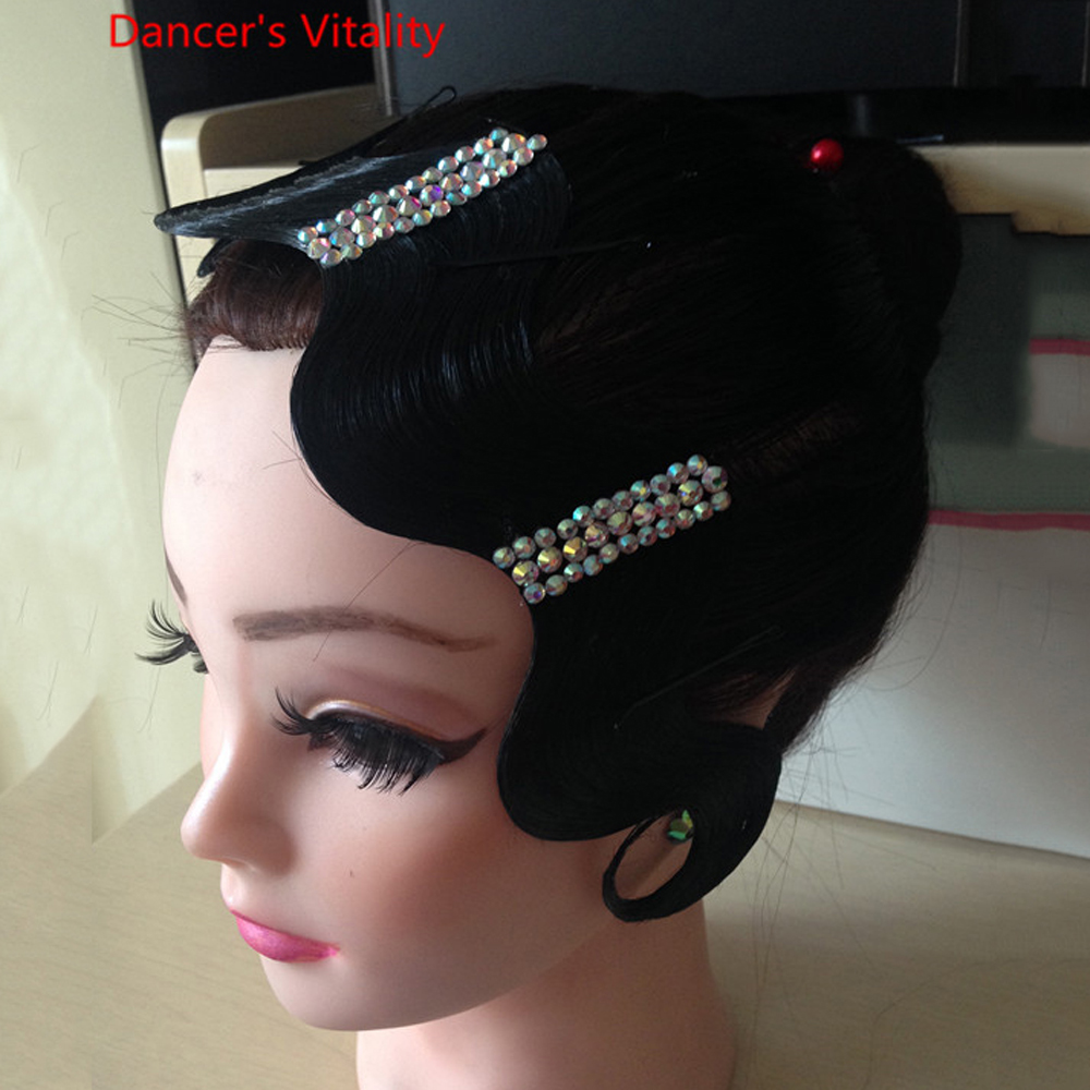 2019 Fashion Ballroom Latin Dance Accessories Belly Dance Headdress Diamond Wigs Waltz Tango Headwear Competition Performance Dancewear