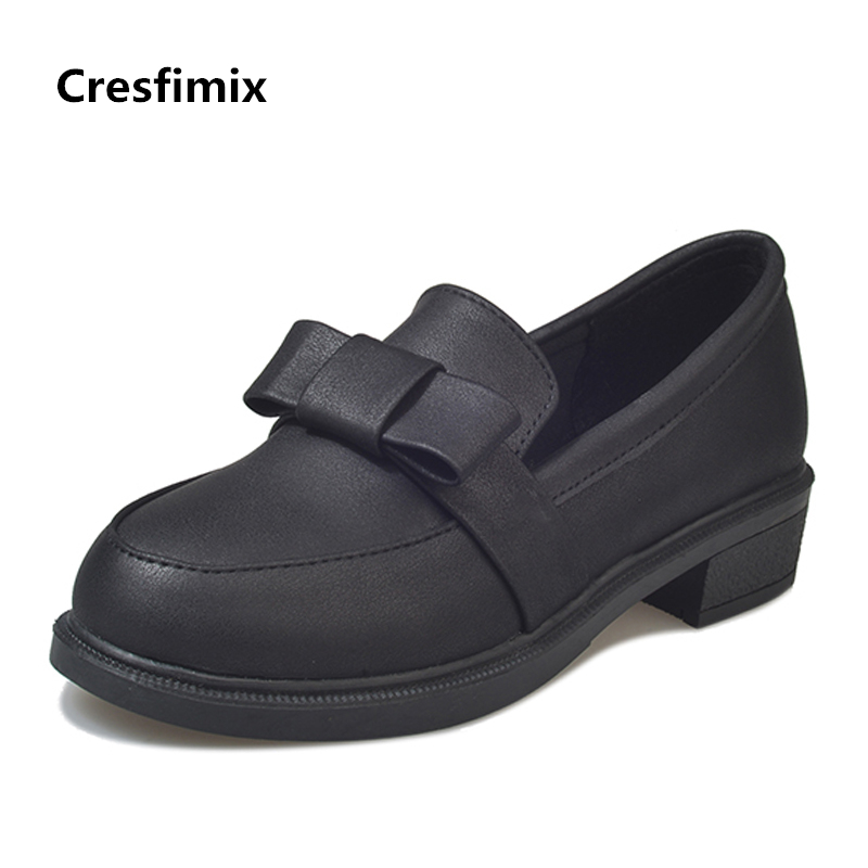 Cresfimix zapatos de mujer women fashion pu leather slip on shoes with bow tie lady casual retro black shoes sapatos femininas cresfimix zapatos de mujer women casual spring