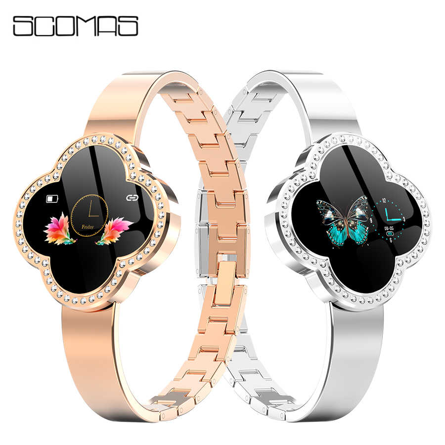 Scomas Smart Watch Wanita 2019 IP67 Tahan Air Heart Rate Monitoring Bluetooth untuk Android IOS Kebugaran Gelang Wanita Smartwatch