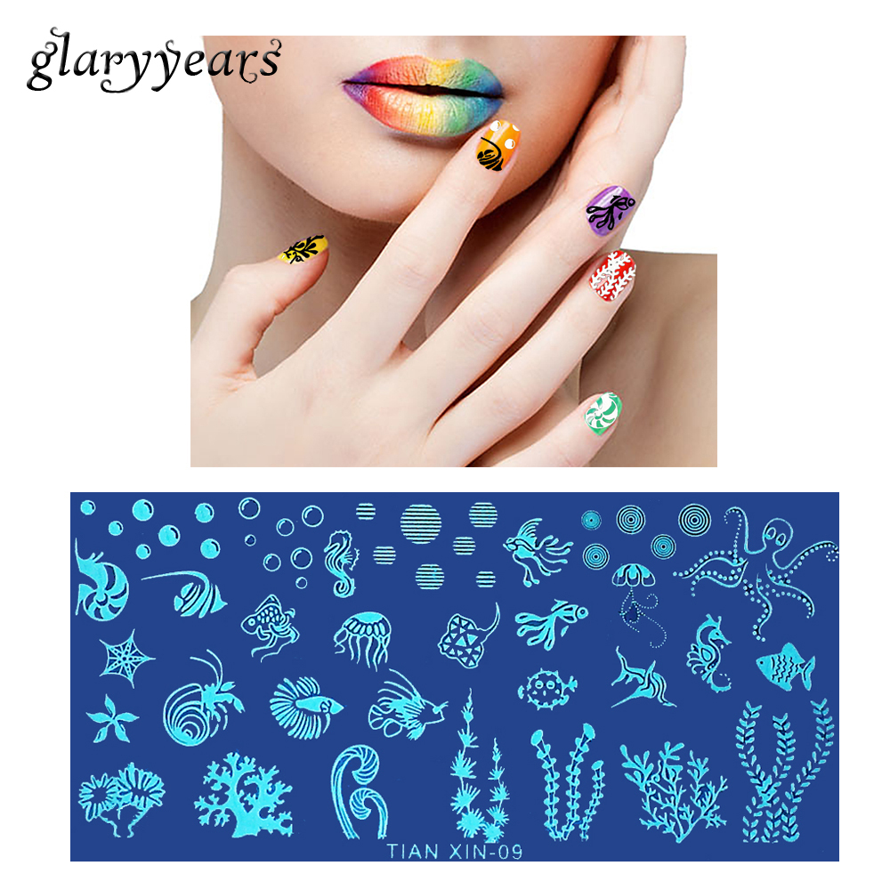 1 piece template nail art stamping plate coral fish octopus design 1 piece template nail art stamping plate coral fish octopus design manicure tool nail stamp stencil ocean world 2018 tian xin 09 in nail art templates from prinsesfo Image collections