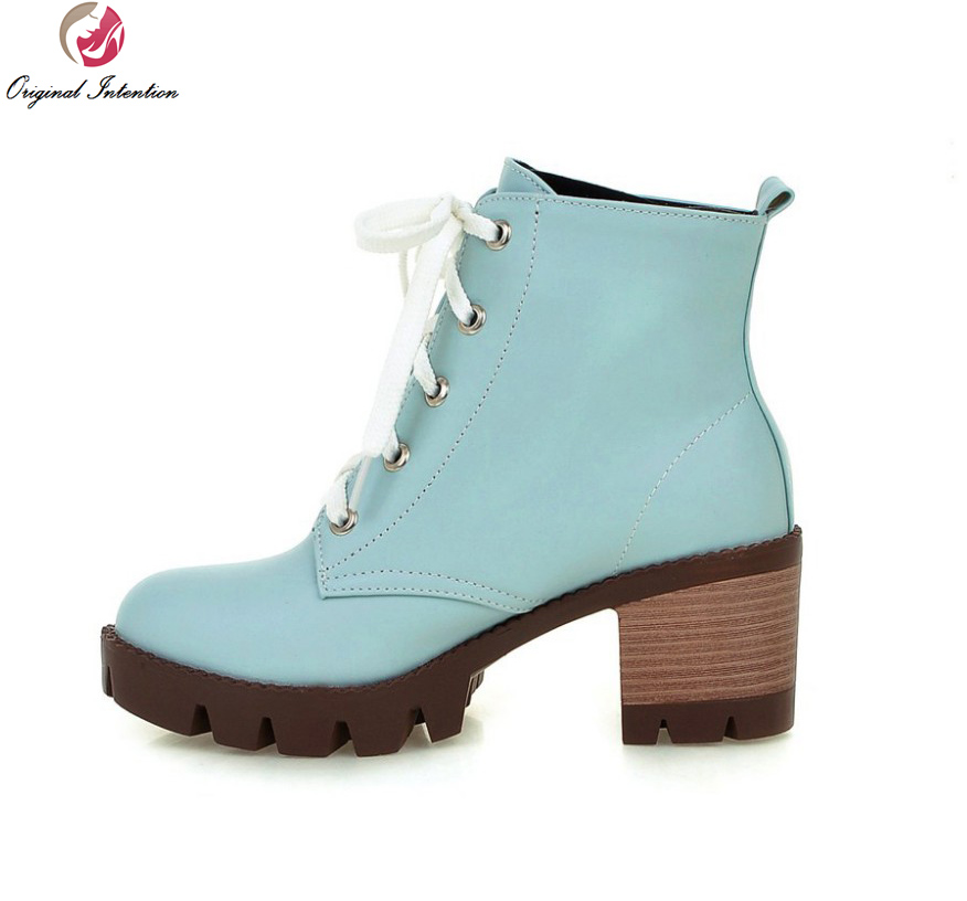 Original Intention Women Ankle Boots Round Toe Square Heels High-quality Pink Beige Blue Black Shoes Woman US Size 4-10.5 women platform square high heel ankle boots fashion side zipper round toe shoes woman black white beige