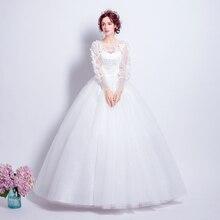 Angel Wedding Dress Marriage Bride Bridal Gown Vestido De Noiva 2017 Sweet, lace, flowers, long sleeves, 6011