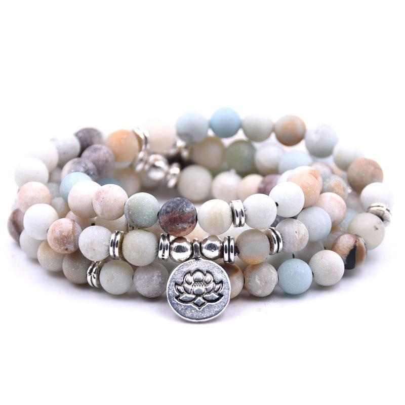 KMVEXO 18 Colors Women Matte Amazonite 108 Mala Beads Bracelets High Quality Lotus Charm Yogi Bracelet Necklace Fashion Jewelry все цены