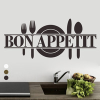 Bon Appetit Art Quote Hot Sale Room Kitchen Vinyl Wall Mural Decal Sticker Carved Kitchen Living