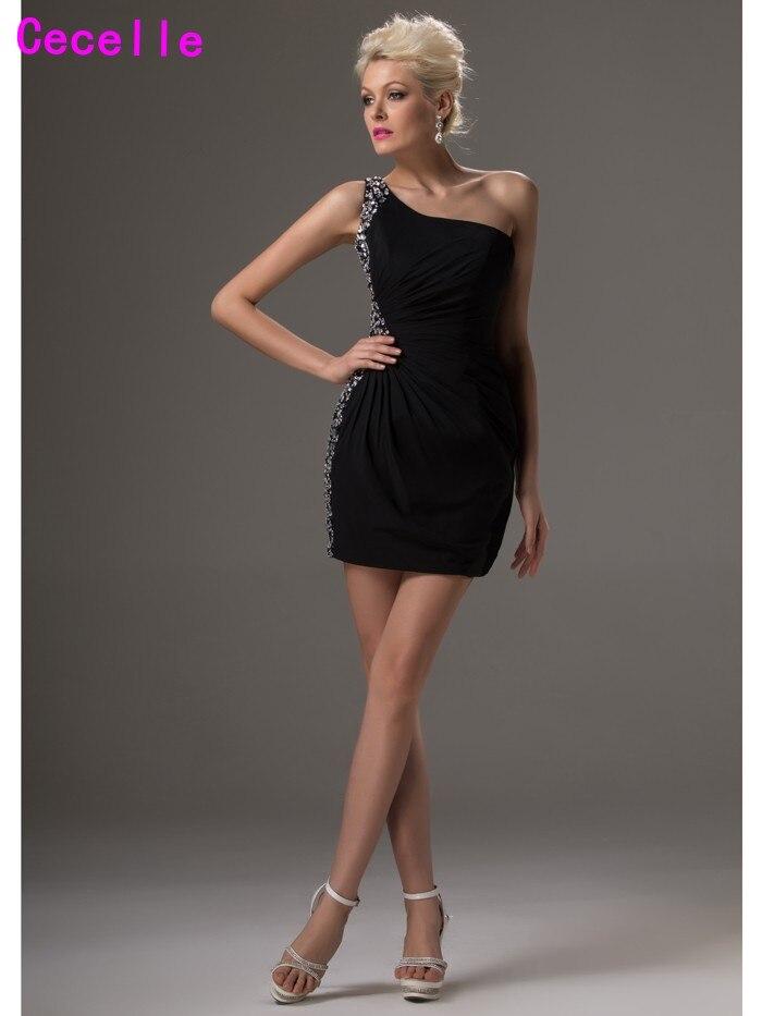 One Shoulder Little Black   Cocktail     Dresses   One Shoulder Beaded Chiffon Mini Short Prom   Dresses   For Juniors Party   Dresses   Real