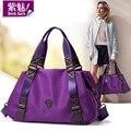 Bensjiaos mujeres marca europea vintage púrpura para mujer del bolso de hombro de nylon impermeable ocasional bolso clásico bolsas de mensajero negro