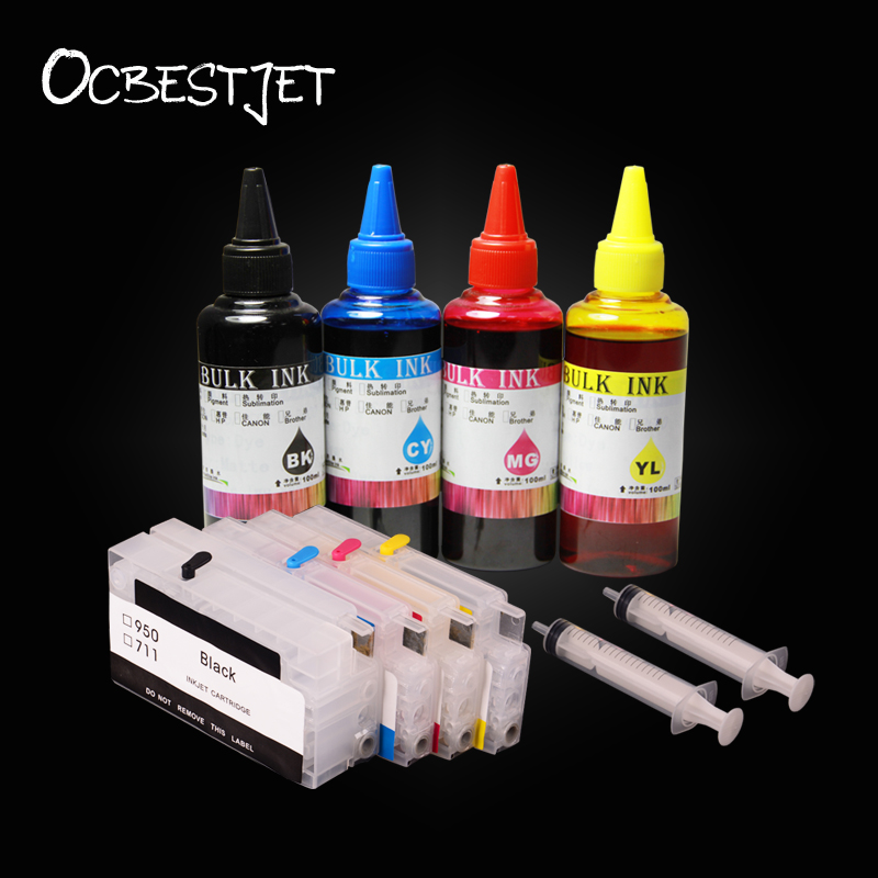 OCBESTJET Refillable Cartridge For HP950 951 Officejet Pro 8600 8610 8615 8620 8630 8640 8660 With 400ML Dye Ink 2017 summer new eternal yohe half face motorcycle helmet yh 868 abs motorbike helmet double lens electric bicycle helmets