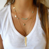 Hot Fashion Gold Plated Multilayer Tassels Turquoise Feather Choker Pendants Necklace Collier Femme Colares Mujer Bijoux