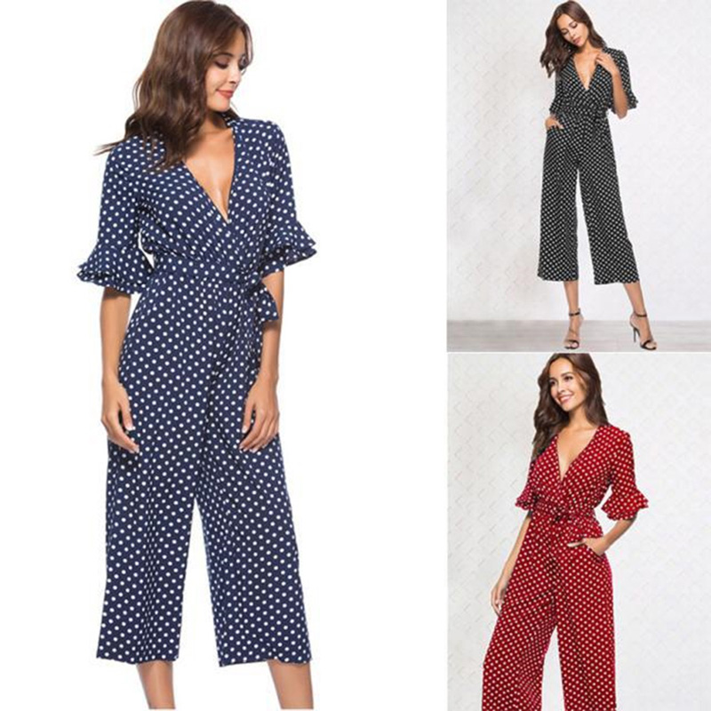 Hengsong Women Summer V-neck Dot Print Jumpsuit Playsuit Sashes Pockets Ruffle Sleeve OL Overalls Office Lady Wide Leg Jumpsuits