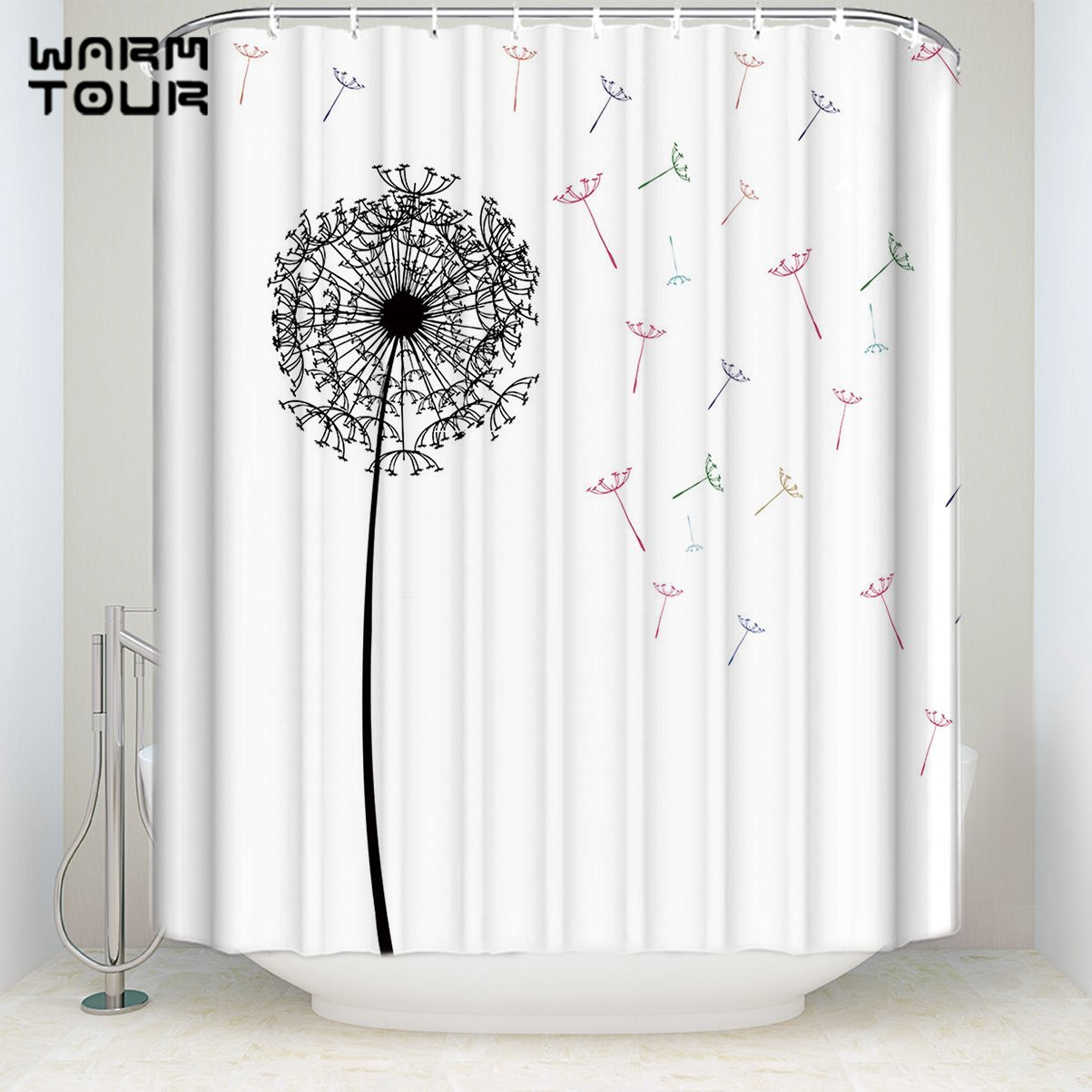 Us 16 23 30 Off Extra Long Fabric Bath Shower Curtains Funny Dandelion White Welcome Mildew Resistant Bathroom Decor Sets With Hooks In Shower