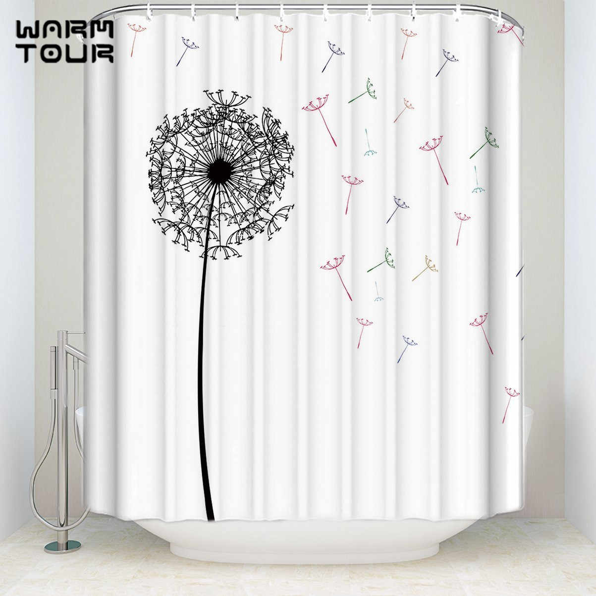 Bathroom Shower Curtain Extra Long Fabric Bath Shower Curtains Funny Dandelion White Welcome Mildew Resistant Bathroom Decor Sets With Hooks