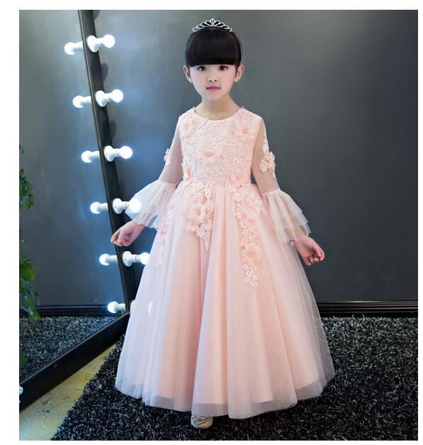 Girls Pageant Long Formal Dresses 2017 Winter Long Sleeve Gauze Gowns Flowers Girls Princess Tutu Dress Kids Party Wedding Dress girls pageant long formal dresses 2017 sleeveless gauze gowns lace flowers girls tutu dress bow kids wedding party dresses 1 9y