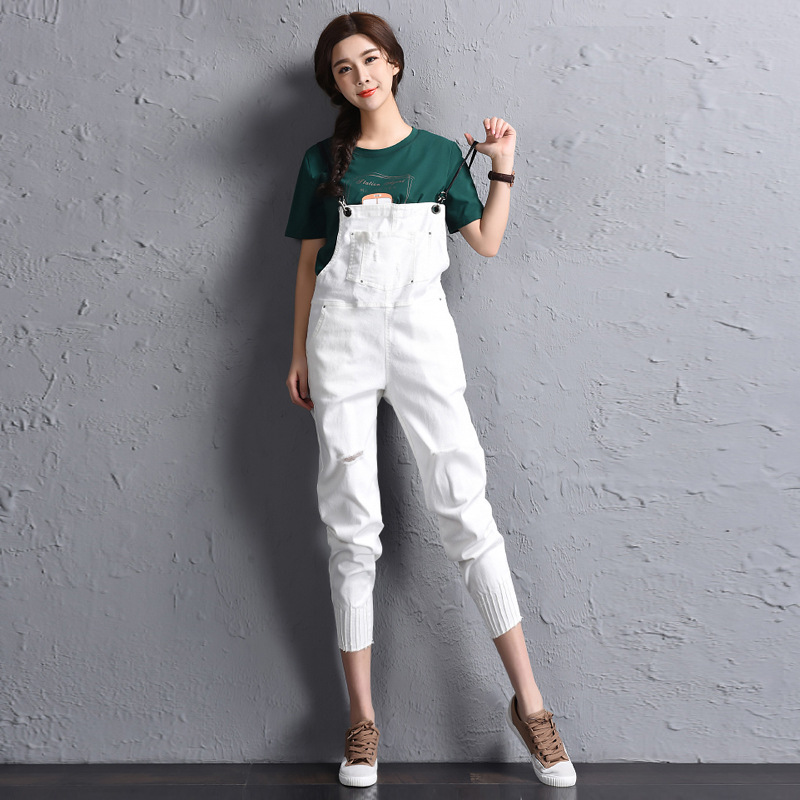 Spring new Korean fashion personality hole black cowboy straps pants female ripped overalls jeans for women ankle length MZ1526
