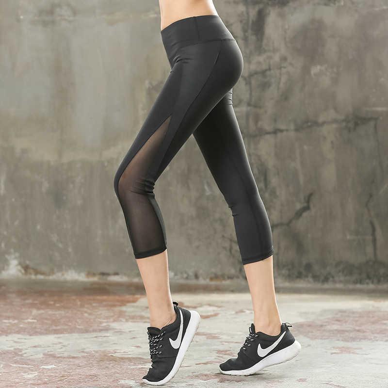 44e0a36a05b LucyLizz Sexy Mesh Patchwork Women Yoga Pants Fitness Sports Leggings Capri  Pants Slim Running Tights Gym Leggins Sport Clothing
