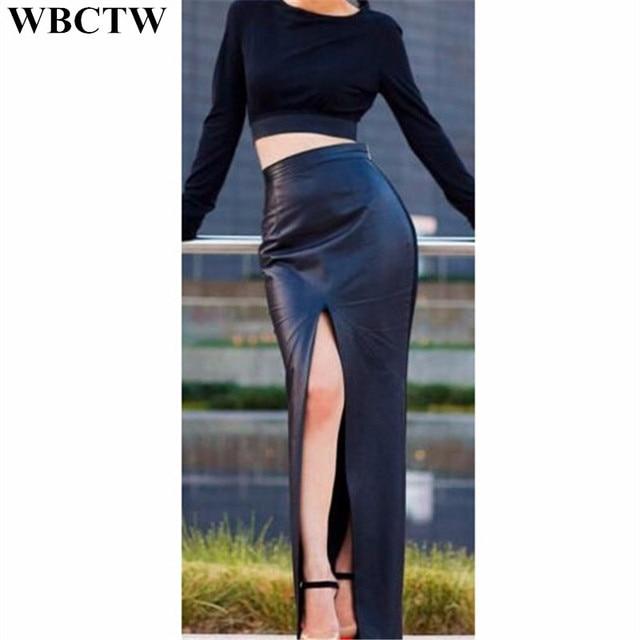 0c662fd705f40 WBCTW Long Skirts Solid High Waist Open Slide Sexy Pencil Skirt 7XL Plus  Size PU Faux Leather Summer Womens Skirts Office Skirt