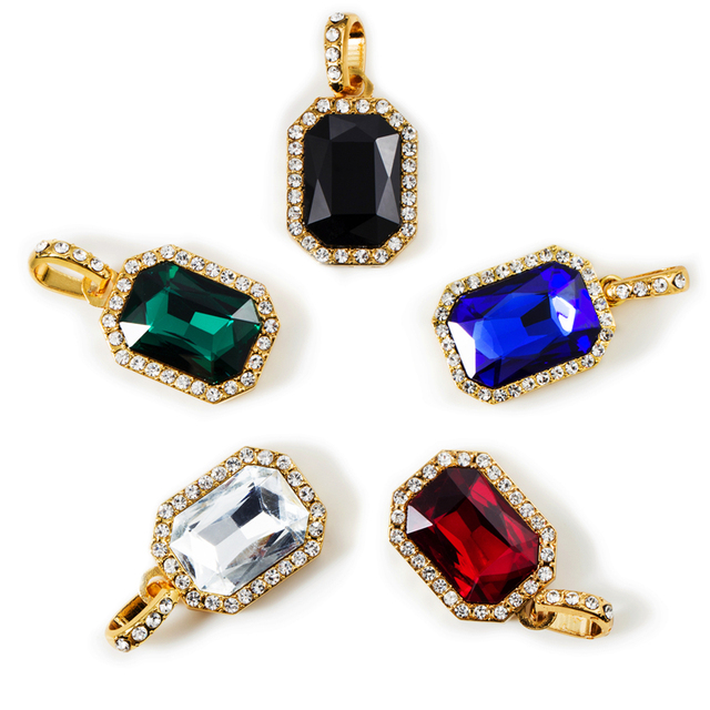 Created Bling Stone Exquisite Gem Necklaces, CZ Pendants Charm HipHop Crystal Chains Jewelry