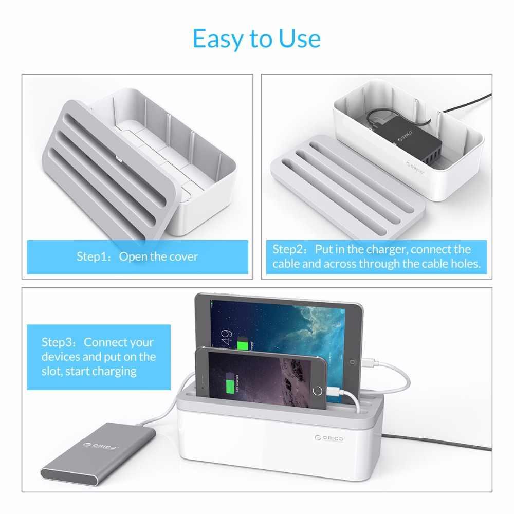 Orico Power Strip Kotak Penyimpanan Charger Storage Power Bank Box dengan Ponsel Pemegang Charger Kawat Kabel Manajemen Kotak Penyimpanan Baterai