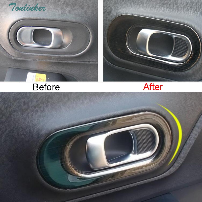 Tonlinker Cover Case Stickers For Citroen C5 Aircross 2017-18 Car Styling 4 PCS Stainless Steel Door Handle Cover Case Stickers