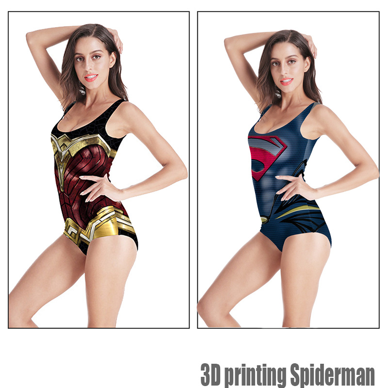 2019 Cute Cosplay Superman Wonder One Piece Bikini For Girls Women Swimsuit Sexy 3D Printed Swimwear Bodysuit Spiderman Jumpsuit in Body Suits from Sports Entertainment