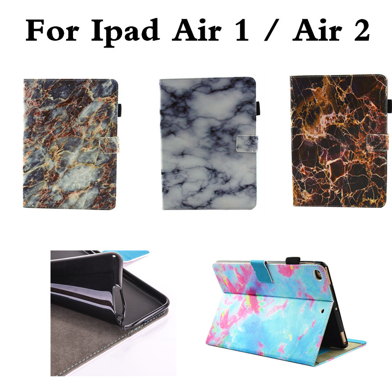 Marble Pattern PU Leather Flip Case For Apple iPad Air1 Air2 Cover Stand Ultra Slim Shell Funda For Ipad Air 1 2 9.7 inch Tablet alabasta cover case for apple ipad air1