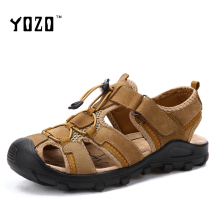 men sandals genuine leather sandals men fashion hook & loop comfortable leisure  shoes men beach sandals sandalias hombre