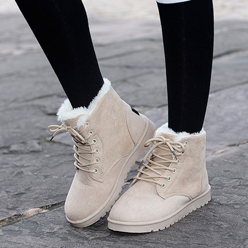 8 Colors Ankle Boots For Women Flat Casual Women Snow Boots Plush Lace-up Warm Cotton Shoes Fur Female Winter Boots DST903 zorssar 2017 new classic winter plush women boots suede ankle snow boots female warm fur women shoes wedges platform boots