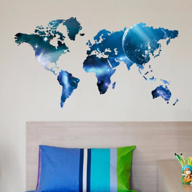Large size sky blue starball 3d world map wall stickers removable large size sky blue starball 3d world map wall stickers removable vinyl decal mural modern wall gumiabroncs Gallery