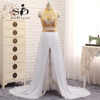 New Arrival High Neck Beaded White And Gold Two Piece Prom Dresses 2015 Side Split Chiffon
