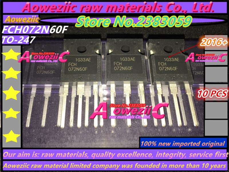 Aoweziic 2016+ 100% New Imported Original   FCH072N60F 072N60F  TO-247 MOSFET 600V 52A