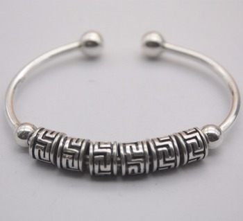 New Arrival Pure S999 Sterling Silver Bracelet Women Surface Bead Bangle 25-25.5g