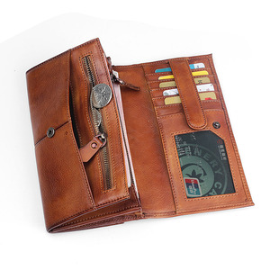 Image 4 - AETOO Mens handmade leather long wallet retro first layer of leather zipper men and women handbag couple vintage bag