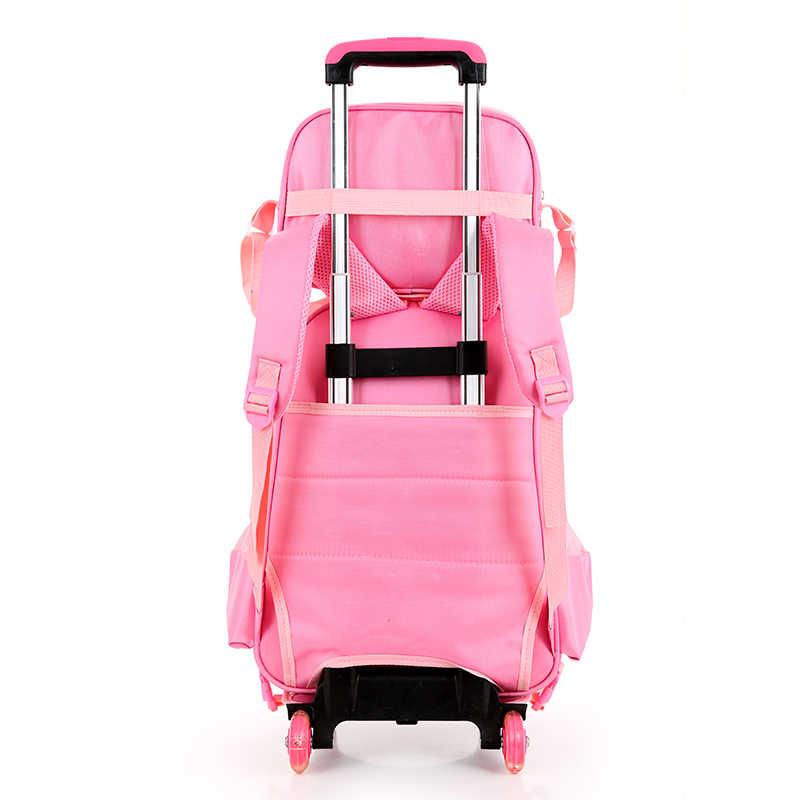 Дети девочки школьный ранец на колесиках Чемодан книжные сумки рюкзак последнее съемный детей школьные ранцы колёса восхождение по лестнице розовый