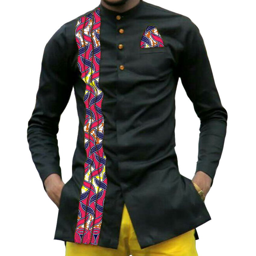 Custom dashiki print men collar shirt free shipping for Custom printed dress shirts