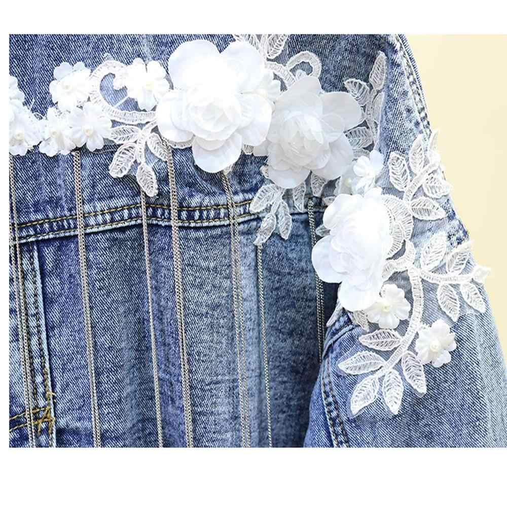 Джинсовое пальто, женские куртки, осень 2019, Цветочная вышивка, цепи, Jaqueta Feminina Chaqueta Mujer, джинсовая женская короткая куртка