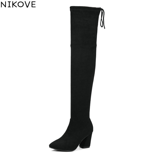 b3826be0be8 NIKOVE 2018 Women Boots Slim Look Square High Heel Over The Knee Boots  Synthetic Pointed Toe Spring and Autumn Boots Size 34-39
