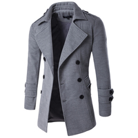 2019 Autumn Winter Jacket Men Peacoat Mens Jackets And Coats Male Brand Clothing Chaqueta Hombre Wool & Blends Men Trench M XXL