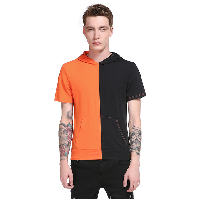 New Men's Tops Tees 2017 Summer Stitching O Neck Short Sleeve T Shirt Men Fashion Solid Hooded Slim T Shirts Mens Size S-XXL QXZ