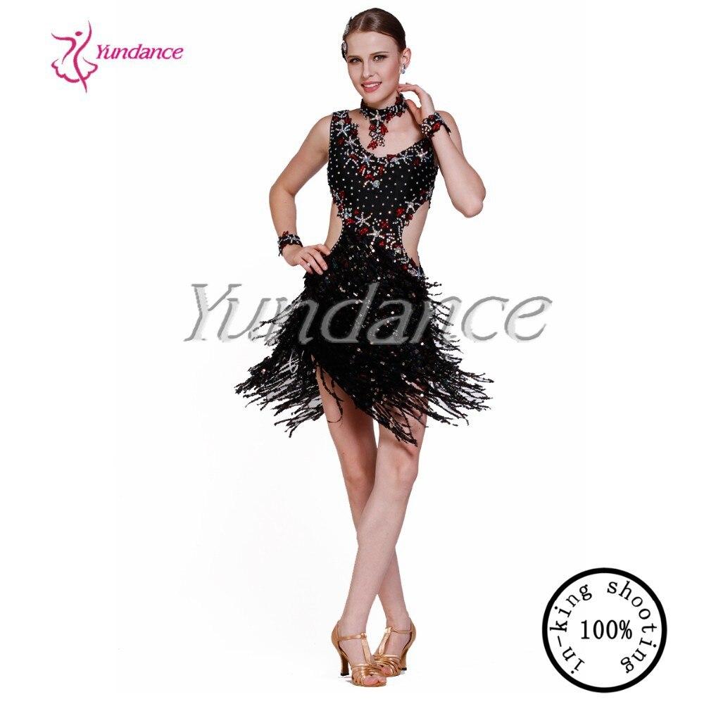 Платье для латинских танцев с бахромой черное Горячая Распродажа L 11183